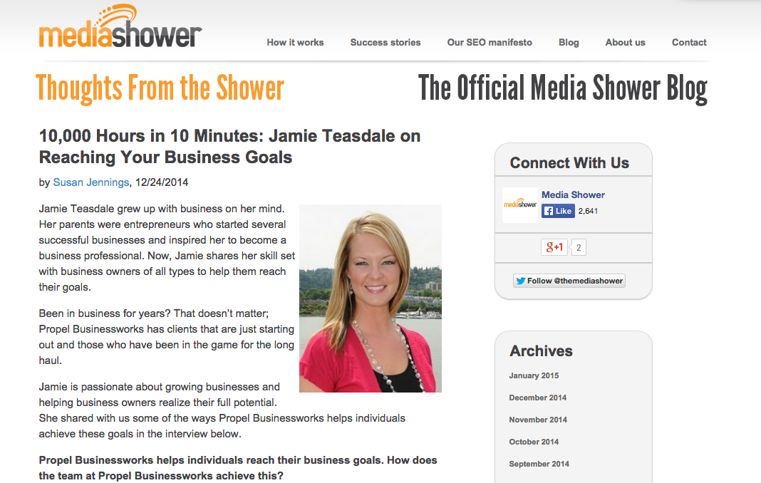 Jamie Teasdale Talks Reaching Your Business Goals on MediaShower